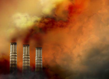 lluvia acida: Tres ciervos han contaminaci�n de humo de humo saliendo de la parte superior y hay un mont�n de humo en torno a ellos. Foto de archivo