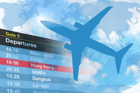 delay: An airplane is flying in the sky with a  departure list in the background. Stock Photo