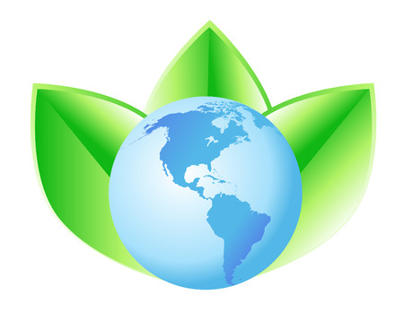 leaf logo: A blue globe with North and South America has 3 green leaves behind it.