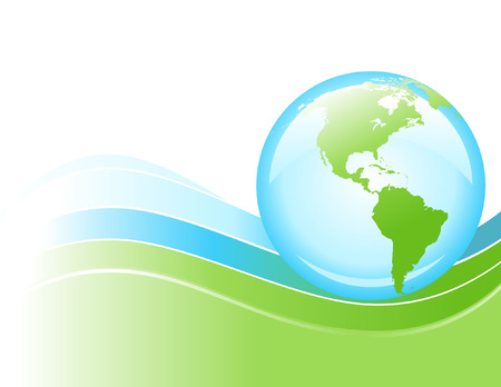 A bright globe of the Earth is rolling on a blue and green wave of energy. Stock Vector - 4771597