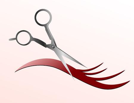 Schaar snijden van een deel van wapperende haren en de achtergrond is roze.