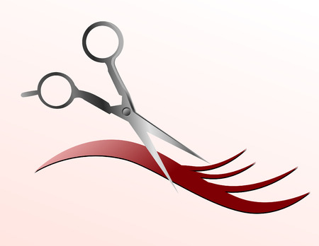 scissors cutting: Scissors are cutting a strand of flowing hair and the background is pink.