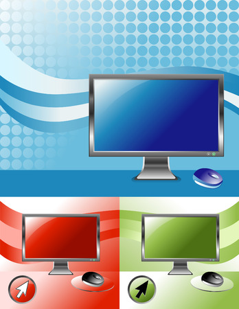 three pointer: Three different computertelevision screen to choose from with patterns in the background. A mouse and pointer are also included. Illustration
