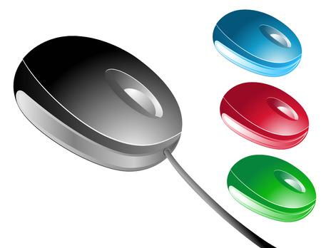 Kies uit 4 verschillende gekleurde muizen (zwart, blauw, rood en groen) heeft een van de muizen een koord en de anderen zijn draadloze. Stock Illustratie