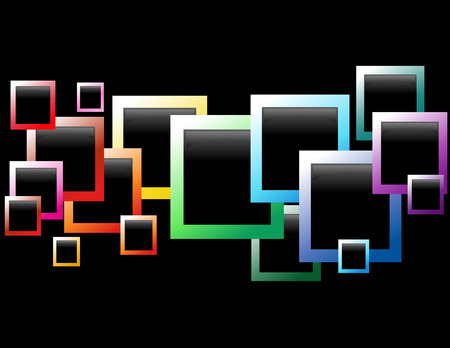 black picture frame: A rainbow of beveled colored picture boxes are going across a black background. The picture boxes range in size and color.