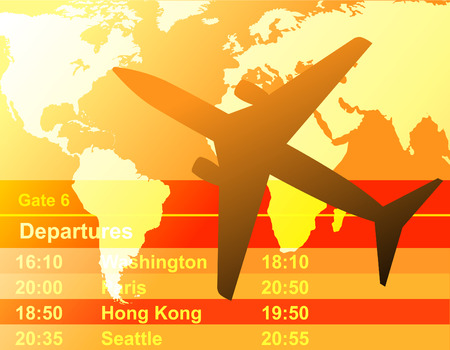 depart: A Black airplane is flying through a cloudy sunset. A departure schedule is in the background.