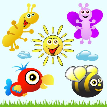 Verscheidene verschillende leuke, kleurrijke karton dieren om uit te kiezen. Tekens omvatten: rups, bijen, vlinder, zon en een papegaai. Stock Illustratie