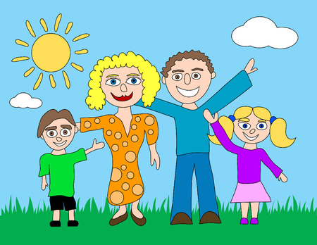 A happy cartoon family is standing on grass with a sun and clouds in the background.