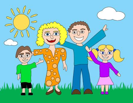 family grass: Una familia es feliz de dibujos animados sobre un c�sped con un sol y las nubes en el fondo. Vectores