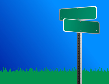 metal sign: A blank green roadstreet sign is against a bright blue sky and grass is behind it.