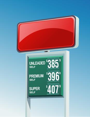Een lege gas rode bordje met gasprijzen eronder. Stock Illustratie