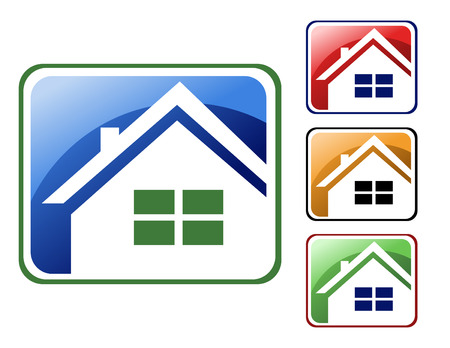 Choose from 4 different square house icons types - blue, red, orange and green. Vector