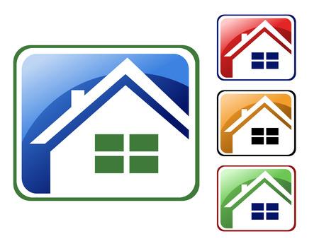 apartment market: Elige entre 4 diferentes tipos de iconos cuadrados casa - azul, rojo, naranja y verde.