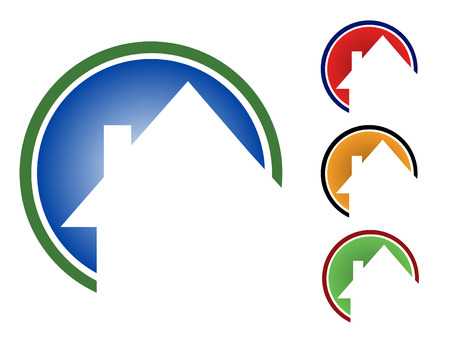 Choose from 4 different circular house icons types - blue, red, orange and green. Ilustração