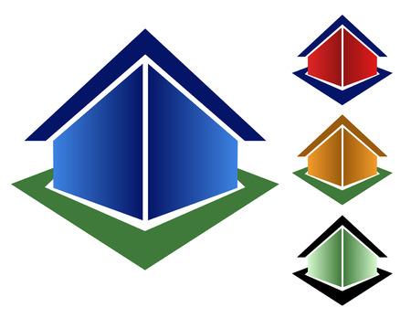 4 別の三角形の家のアイコンの種類から選択 - 青、赤、オレンジと緑。  イラスト・ベクター素材