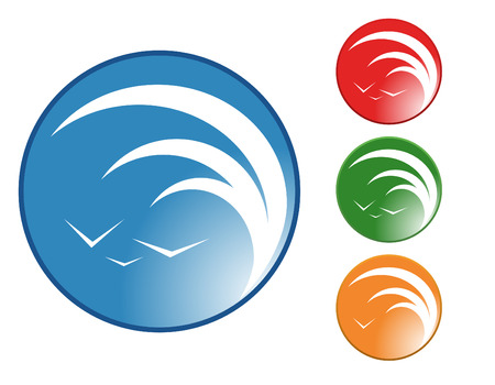 tidal: A circle with a tidal wave and birds in the sky are enclosed in a circle. Choose from 4 different colors. Illustration