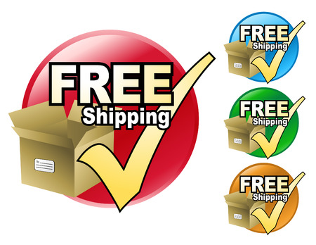 order shipping: A free shipping icon in four different colors to choose from. The icon has a cardboard box with a check mark by it.