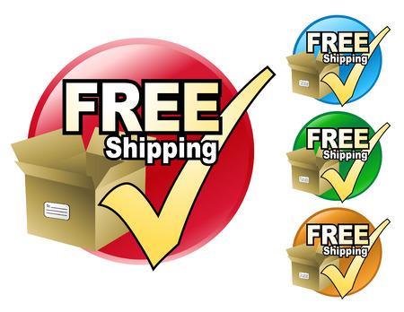 h�kchen: Ein kostenloser Versand-Symbol in vier verschiedenen Farben zur Auswahl. Das Symbol hat eine Pappschachtel mit einem H�kchen von ihr.