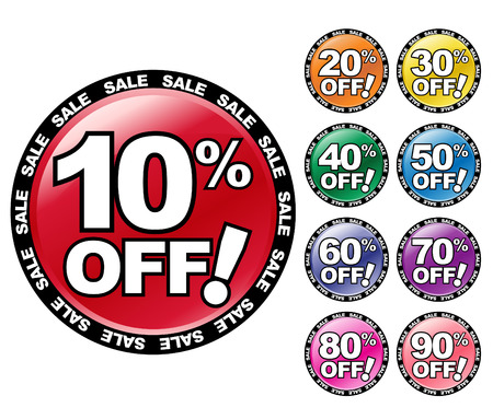 Colorful percent OFF icon symbols to use for a store sale or bargain.