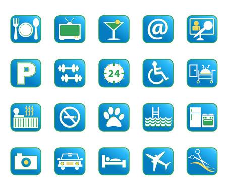 Kies uit een verscheidenheid van vector hotel voorzieningen pictogrammen in blauwe kleur. Stock Illustratie
