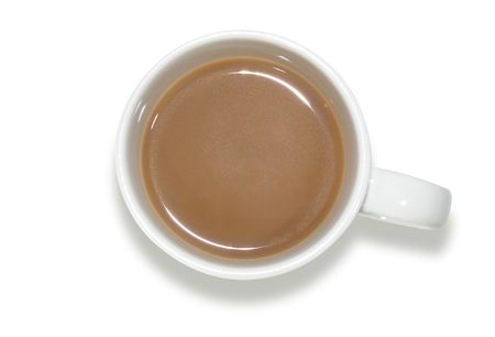 An aerial shot of a white coffee cup with coffee inside. Stock fotó
