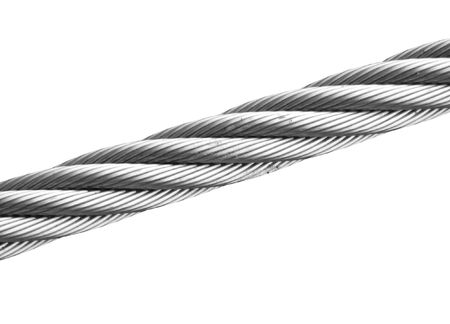 An isolated wire cable is going across a white background. Can symbolize strength and security to weakness and separation. photo