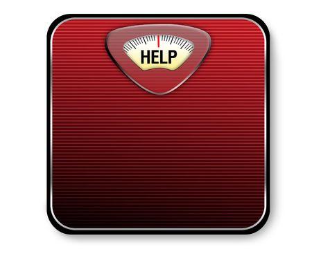 """Una escala de color rojo y negro con la palabra """"ayuda"""" para mostrar el peso."""