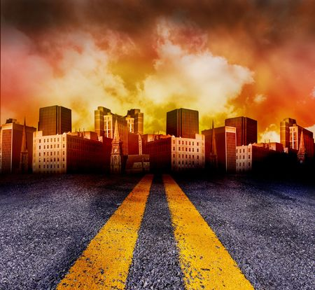 destruction: A double yellow line road is leading to a city with a red and yellow sunset in the background. The city is red in color.
