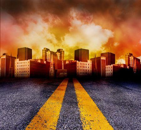 infierno: Una doble l�nea amarilla carretera conduce a una ciudad con una puesta de sol rojo y amarillo en el fondo. La ciudad es de color rojo.