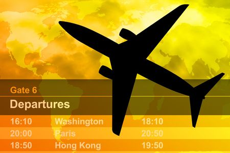 air ticket: A Black airplane is flying through a cloudy sunset. A departure schedule is in the background.
