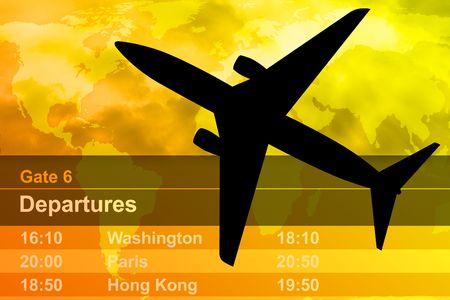 A Black vliegtuig vliegt via een bewolkte zonsondergang. Een vertrek tijdschema wordt op de achtergrond.