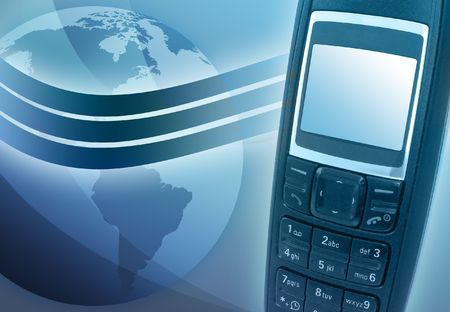 A blue cell phone has a wave signal coming out of it and a globe of the Earth is in the background Stock Photo - 4991679