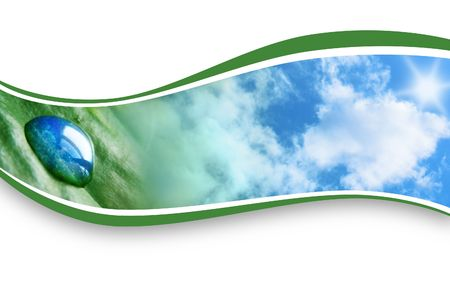 A Water drop is on a leaf and the clouds are on the side. They image are encased in a wave pattern curve with a white background.