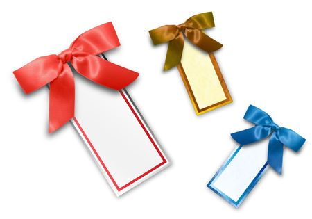 Choose from three different sales tags in red, gold and blue. Add your text to the blank label. photo