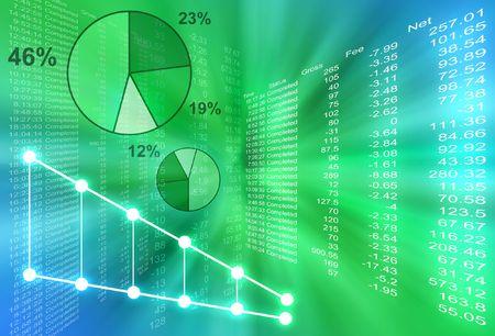 registros contables: Resumen de las cifras financieras vienen fuera del centro con varias gr�ficas de tarta. El fondo es de color verde y azul.