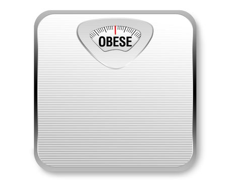 A white weight scale with the word obese for the weight display. photo