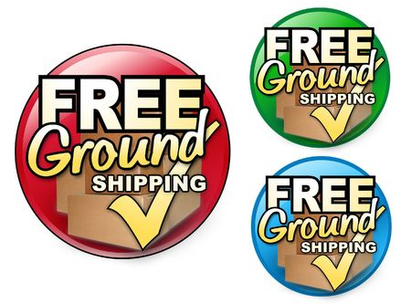 Choose from three different colored FREE Ground Shipping Icons. There are shipping boxes behind the text and a check mark. Perfect for any business. Archivio Fotografico