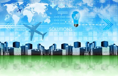 industrialized: A green and blue abstract business background with a city, graphs, clouds and the earth. Stock Photo