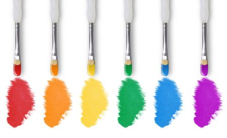 There are six paintbrushes on a white isolated background painting the colors of the rainbow. Stock Photo - 5461571