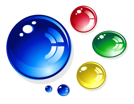 Colorful round, 3D water drops are on a white isolated background. Colors are blue, red, green and yellow. They are very shiny. Stock Vector - 6159934