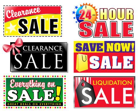 Choisissez de vente différents 6, clairance discount icônes pour votre magasin. Faire de la publicité des produits spéciaux en vente et faire vos éléments ressortent au client.