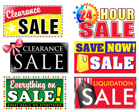 Choose from 6 different sale, clearance discount icons for your store. Advertise special products on sale and make your items stand out to the customer.