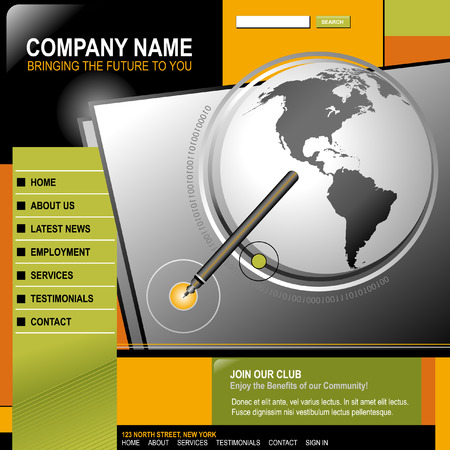 web template: An internet web design template for your business. There is a globe of the Earth with a pen pointing to a circle. The color scheme is orange, green and black. There are buttons and navigation menus too. Illustration