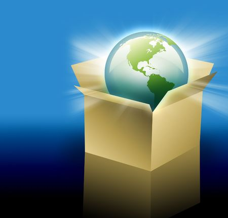 The planet Earth is inside of a cardboard delivery box for shipping.  Can be used for international shipping and travel for your business. photo