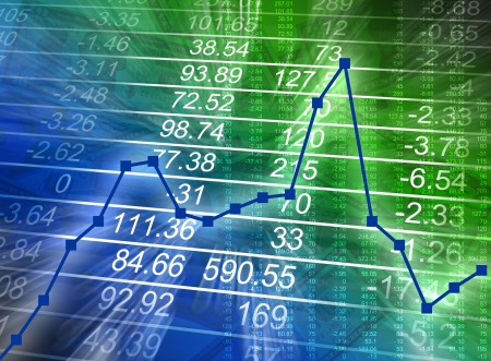 Abstract financiële cijfers zijn gloeiende op een blauwe en groene achtergrond met een grafiek verhogen dan verlagen. Kan zakelijke financiën of de slechte economie vertegenwoordigen. Stockfoto - 6159928
