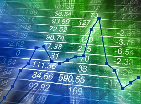 dann: Abstrakte Finanzzahlen sind auf blau und gr�n hintergrund mit einer Grafik erh�hen, dann verringert gl�henden. Kann Business Finanzen oder der schlechten Wirtschaft darstellen.