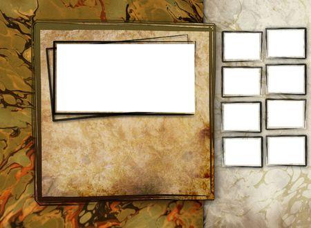 Een antiek fotogaleriesjabloon om uw foto's weer te geven als een plakboek of fotoalbum voor afdrukken of op het internet. Heeft een antieke, grunge, rustieke uitstraling. Voeg aan de zijkant kleinere foto's toe.