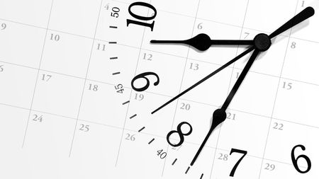 A white clock with numbers is against a calendar background displaying dates of a month. Can represent an appointment schedule or a deadline.