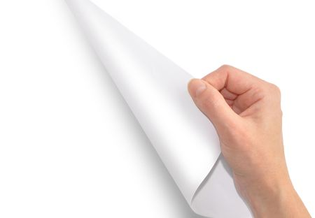 A hand is turning or flipping a blank page over. The page is white and you can insert your text in the blank area. Stock Photo - 6159923