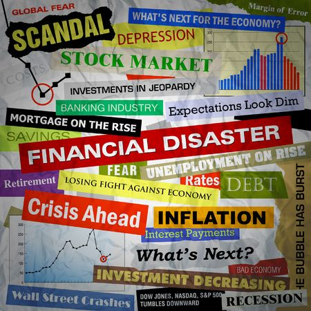 Headlines of the bad business economy and economic disaster cutouts in various fonts and colors. There are also some charts and graphs. Stock Photo - 6176291